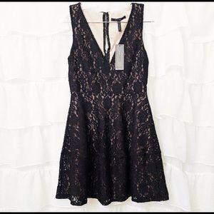 BCBGMAXAZRIA Black Lace Fit & Flare Dress